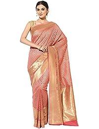 Banarasi Silk Works Cotton Saree With Blouse Piece(PTE89_Orange_Free Size)