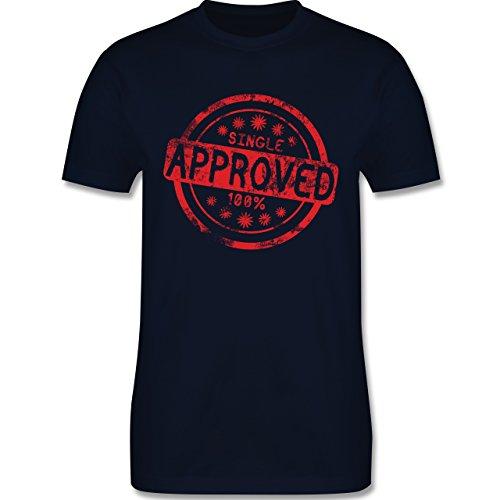 lustige Sprüche - Single approved - L190 Herren Premium Rundhals T-Shirt Navy Blau