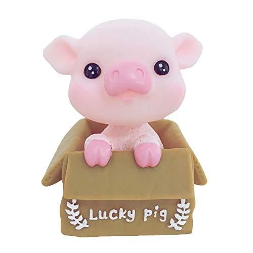 shyyymaoyi Niedliches Cartoon-Schweine-Modell, Solar-Schaukelkopf, Auto-Ornament für Zuhause, Büro, Dekoration, Geschenk, Vinyl, 1# -