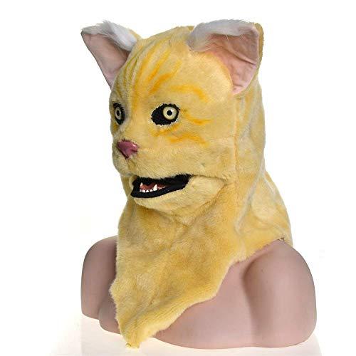 Kostüm Mürrisch - LZY Masken Erwachsene Halloween Kostüm Karneval Festliche Partei Liefert Vollgesichts Mürrisch Gelbe Katze Maske mit Mover Mund Cosplay,Gelb