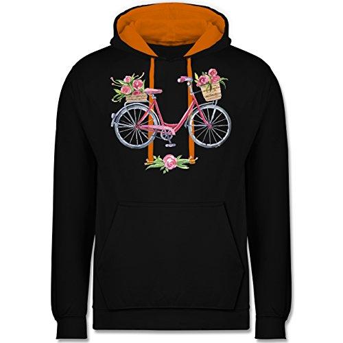 Vintage - Vintage Fahrrad Wasserfarbe Blumen - Kontrast Hoodie Schwarz/Orange
