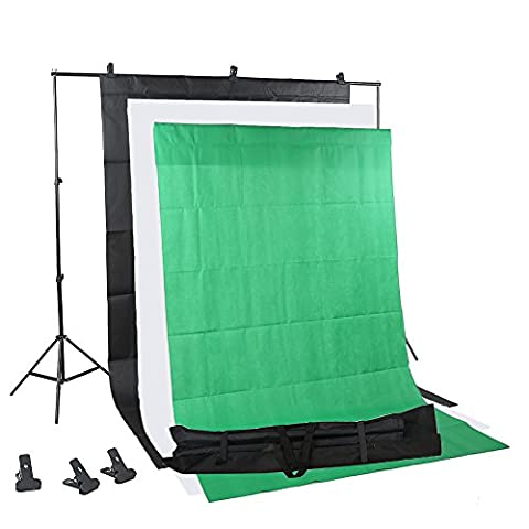 Letwing Digital 2 x 2M Photo Studio Backdrop Support System with 3 x 1.6 x 3 m Cotton Muslin Colour Background and Carry Case (Backdrop Kit