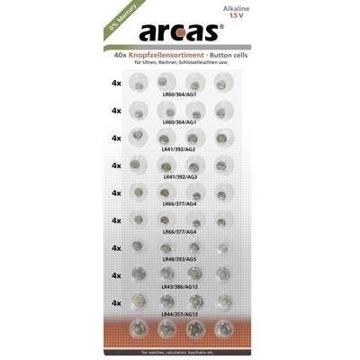Arcas - Lote de pilas tipo botón AG1-AG13, 40 unidades