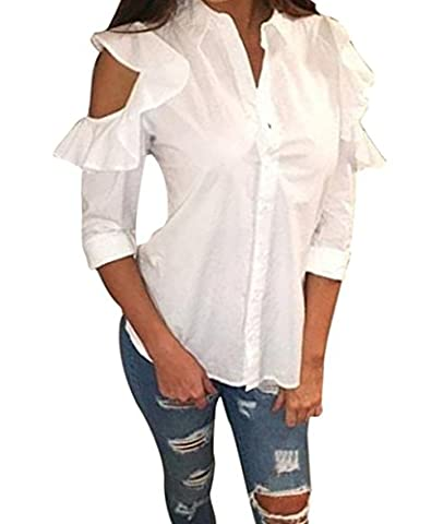 Hemd Damen Internet Ruffled Frill Off Schulterhemd Casual Langarmshirts Bluse