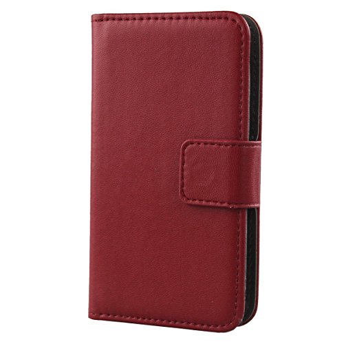 Gukas Design Echt Leder Tasche Für Medion Life X5001 Hülle Handy Flip Brieftasche mit Kartenfächer Schutz Protektiv Genuine Premium Case Cover Etui Skin (Dark Rot)
