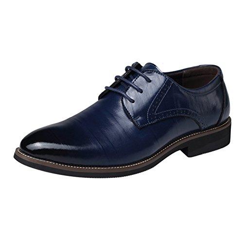 Juleya Herren Schnürhalbschuhe Derby Oxford Schuhe Hochzeit Schuhe Formal PU Lederschuhe Anzugschuhe Freizeitschuhe Blau 43