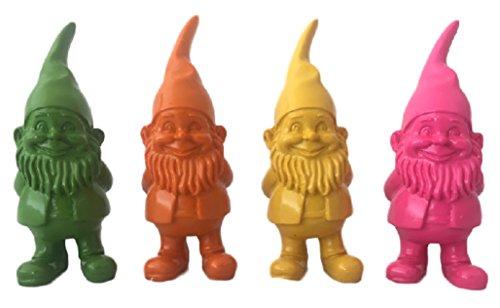 Gartenzwerg Troll Gnom in leuchtender Farbe • je 10 cm hoch • 4 Farbvarianten zur A u s w a h l • Gartenfigur Gartendekoration •...