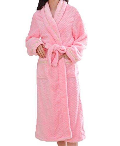 Camicia Da Notte Delle Signore Di Ispessimento Caldo Di Inverno Grande Colore Accoppiamenti Domestici Di Servizio Di Colore Solido Pink