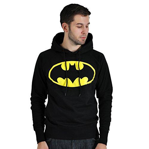 Batman - Felpa deluxe con cappuccio e stampa del logo vintage dell'eroe della DC Comics - Nero - S