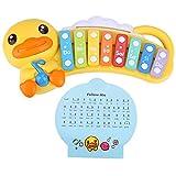 Alomejor Mini Pato Amarillo xilófono de Piano, 8 Escalas Clave Instrumentos Musicales para 1 2 3 años de Edad, Juguetes educativos de música para bebés