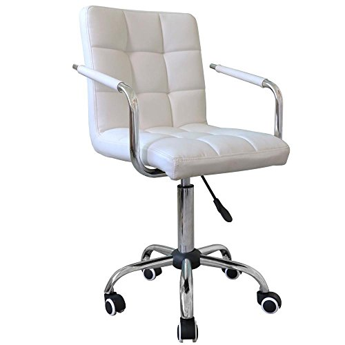Popamazing Modern Faux Leather Swivel Office Chairs Gas Lift Desk Chair on Casters Wheels White