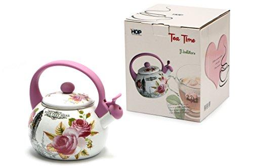 Hop Tea Time Bollitore, Acciaio Smaltato, Multicolore, 19 x 19 x 22 cm