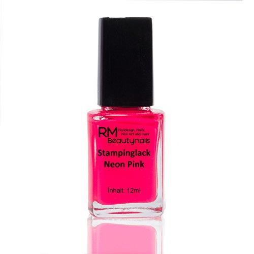 Stampinglack Neon Pink 12ml Stamping Lack Nagellack Nail Polish RM Beautynails - Platten Konad Set