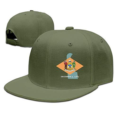 Confederate Flag Design (Map of Delaware Flag Design Solid Flat Bill Hip Hop Snapback Baseball Cap Unisex Sunbonnet Hat.)