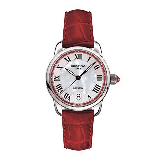 Certina  - Reloj Analógico de Cuarzo para Mujer, correa de Cuero color Rojo