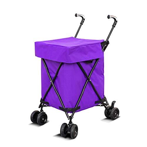 QNJM 82L Große Kapazität Einkaufswagen - Home Multifunktions-Universal-Rad Faltender Outdoor-Kinderwagen, Camper Storage Folding Cart (Farbe : Lila)