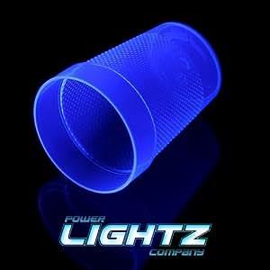 4UV Fluo Tasse Tumbler en bleu, jus, Verres à long drink, lumière noire, 200ml, plus de Voie, plastique