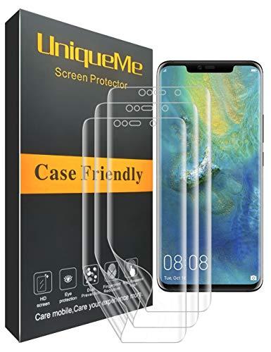 UniqueMe [3 Pack] Huawei Mate 20 Pro Displayschutzfolie, HD Schutzfolie [Anti-Bubble] Schutzhülle für die volle Abdeckung PET Weicher Flexibler TPU Film -