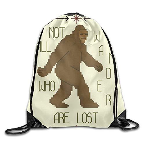 Animal Bigfoot Printed Cute Drawstring Backpack Men Heavy Duty Sack Tote Dance 16.9