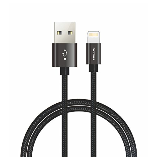 Portronics Konnect Pro POR-792 Lightning Data Cable - 3.9 Feet (1.2 Meters) (Black)