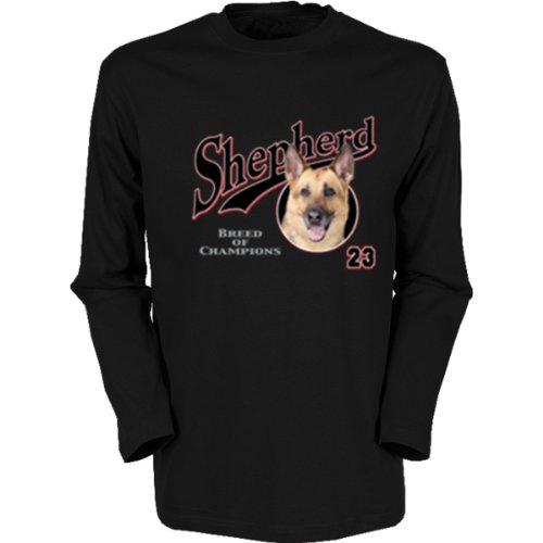 Marken Langarmshirt - Motiv Schäferhund - cooles Langarm Shirt Geschenk Herren Weihnachten Geburtstag Schwarz
