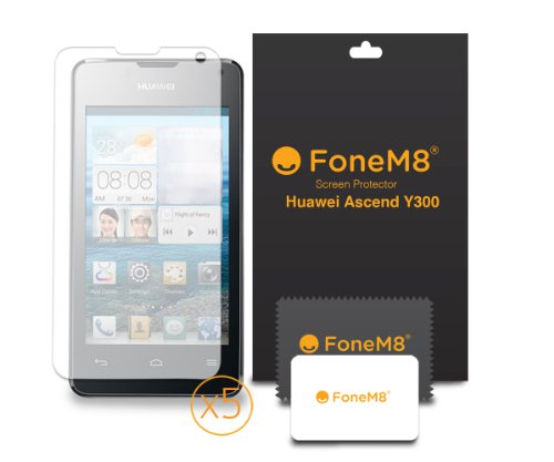 fonem8r-huawei-ascend-y300-screen-protector-pack-of-5-retail-packed-includes-microfibre-cleaning-clo
