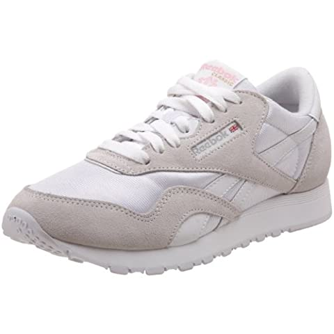 Reebok Classic Nylon, Damen Sneakers, Weiß (White/Light Grey), 38.5 EU (5.5 Damen UK)