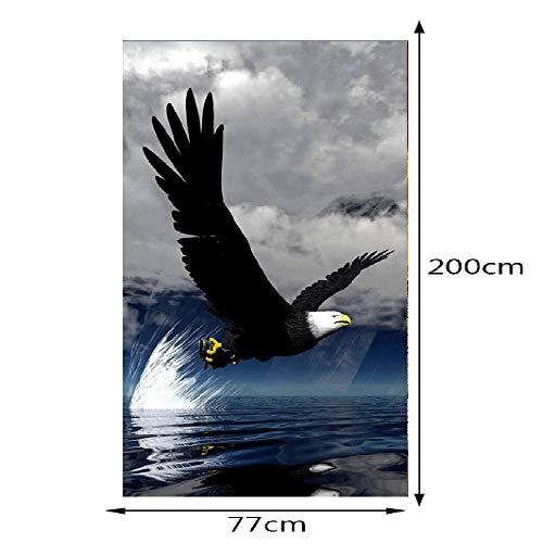 PYUK 2 Panels Der Weiße Kopf Adler Bild 3D Wandbilder Wandaufkleber Tür Aufkleber Tapete Aufkleber Dekoration,77x200cm - Adler Satin