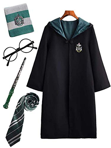 Costume per adulti per bambini costume di harry potter mantello articoli per set di cinematografici bacchetta magica cravatta sciarpa occhiali carnevale fancy dress halloween nero big size