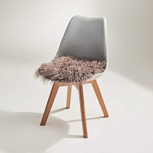 Butlers Tashi Kissen aus Lammfell in Taupe 35x35 cm - Stuhlauflage - Sitzkissen - Dekokissen - Kissen für Stuhl