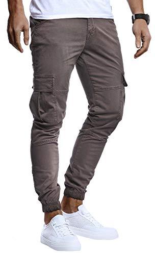 Leif Nelson Herren Hose Jeans Stretch Jeanshose Chino Cargo Chinohose Jogger Freizeithose Stretch Slim Fit LN9285; W33L32, Anthrazit