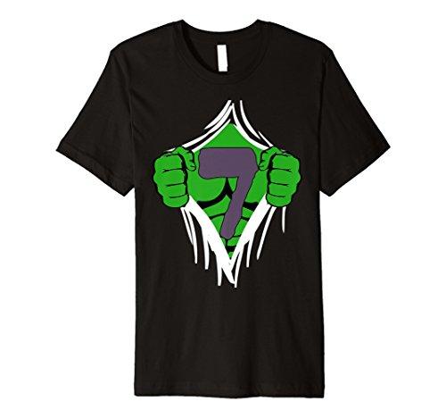 Green Man Brust Superheld Geburtstag Shirt, für 7Jahre alten Jungen