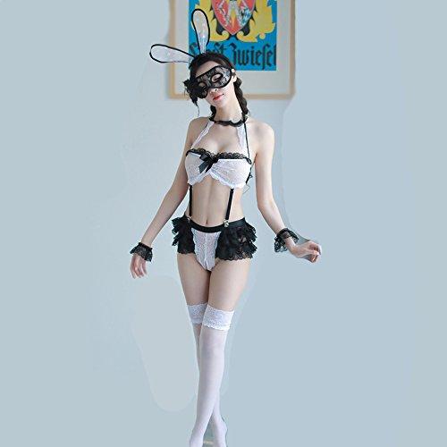 Liu Sensen Dessous Für Frauen Sexy Korsett Hase Mädchen Outfit Bunny Kostüm Dienstmädchen Uniform Hase Ohren Und Schwanz Cosplay Schwarze Spitze Bodys Performance (Dienstmädchen Uniform Kostüm)