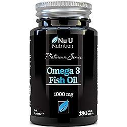 Aceite de Pescado Omega 3 1000 mg El Doble de Potencia AEP y ADH Cápsulas Blandas | Omega 3 6 9 | 180 (Suministro Para 6 Meses) Cápsulas Superiores de Aceite de Pescado 1000 mg