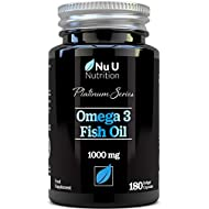 Omega 3 Fish Oil 1000mg Double Strength EPA & DHA Softgel Capsules | Omega 3 6 9 | 180 (6 Month Supply) Premium Fish Oil Capsules 1000mg | Made in The UK by Nu U Nutrition