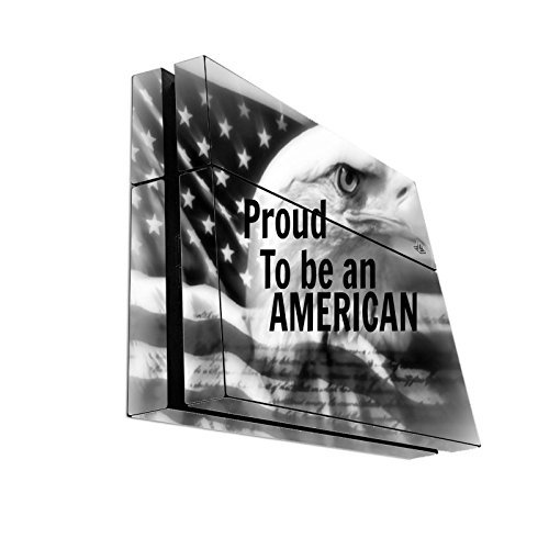 Proud To Be An American Quote Black and White USA Flag with Eagle Head Design Print Image Playstation 4 PS4 Console Vinyl Decal Sticker Skin by Trendy Accessories by Trendy Accessories