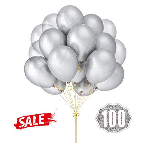 Silberballons Hoshin Luftballons 12 Zoll verdicken Latex Metallic Ballons 100 Stück für Hochzeitsfeier Babydusche Weihnachten Geburtstag Karneval Party Dekoration Lieferungen (Silber)