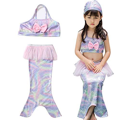 Mädchen Meerjungfrauen-Badeanzug Schwanz-Kostüm Badeanzug Badeanzug Prinzessinnen-Bikini Badeanzug Set, rosa