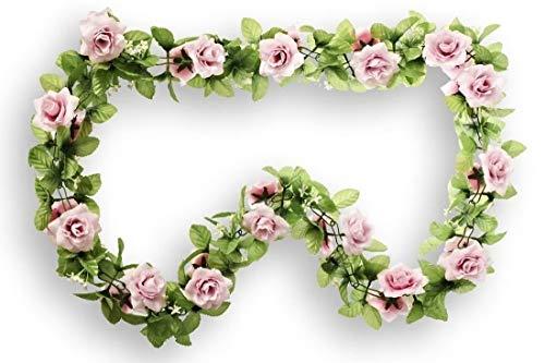 CBK-MS Rosen rosa Rosengirlande Blumengirlande Fahrrad Basil Blumen für Lenker + Korb