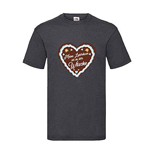 Kostüm Lebkuchen Der Mann - Oktoberfest T-Shirt Herren mit Motiv Lebkuchen - Meine Lederhose ist in der Wäsche - Tracht Männer Dunkelgrau L