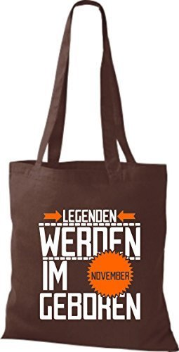 shirtstown Borsa di stoffa Legenden Werden Im NOVEMBRE Geboren Marrone