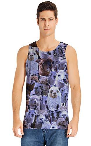 Loveternal Loveternal Herren Ärmelloses T-Shirt Alpaka 3D Bedrucktes Tank Top Lässig Cooles Muskelshirt S