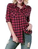 Yidarton Damen Langarmshirt Kariertes Hemd Slim Fit Freizeit Abgerundeter Saum Bluse Shirt Oberteil (Large, Rot)
