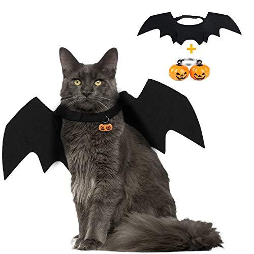 tüm für Hunde und Katzen, Fledermausflügel, Halloween-Kostüm, blutende Zombie-Party, für Kleine Hunde und Katzen, mit 2 Kürbis-Glocken, One Size (Can Adjustment), schwarz ()