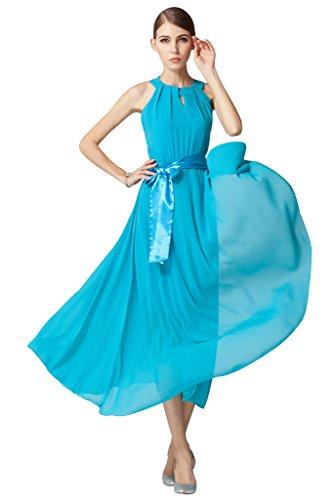 BOMOVO Damen Sommerkleider Ärmellos Elegant Chiffonkleid Partykleid  Abendkleid Ballkleid Strandkleider C