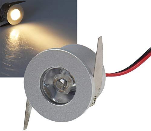 LED Einbauleuchte Mini sehr klein Ø 34 x 22mm Einbau Ø 31mm silber ideal für Wand Decke Treppe Virtine Modellbau (1 Watt warmweiß Ø 34x22mm) -
