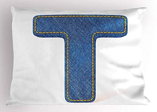 ziHeadwear Letter T Pillow Sham, Alphabet Design with Denim Texture Element Blue Jeans Stitches Illustration Print, Decorative Standard Size Printed Pillowcase, 18 X 18 inches, Blue Yellow - Denim, Pillow Sham