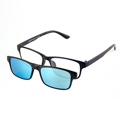 Cyxus Anti Blaues Licht Brille [Klare Linse] mit Clip An Polarisiert Sonnenbrille Set Rechteckig Brillengestell Unisex(Männer / Frauen) Blauer Polarisiert Linse