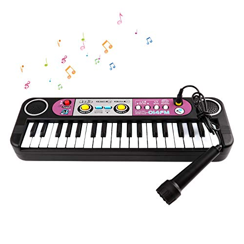 Piano for Kids, 37 Keys Digital Piano Music Keyboard wIth Microphone, Multi Portable Functional Electronic Musical Kid Piano Organ Instrument, Educational Toys Best Gift for Toddlers Baby Boys&Girls, Black