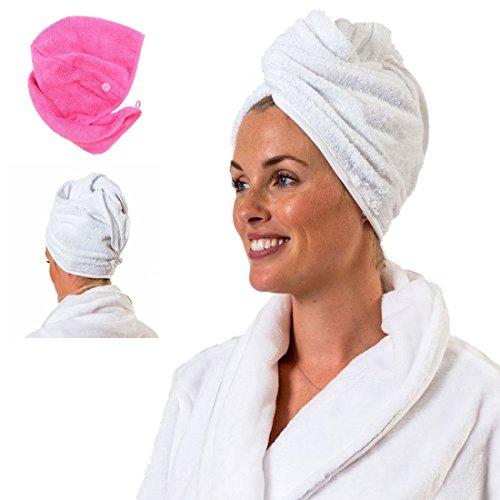 Towelsrus Turbante per Capelli Asciugamano Molto Assorbente e Leggero Cotone